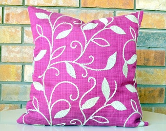 Pillow Pink Decorative Embroidery pillow cover accent pillow designer pillow 18x18 inches