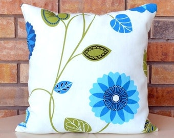 Decorative Pillow Cover - Indoor/Outdoor Pillow Cover - Modern, Leaf and Vine Motif in Green and Blue