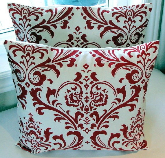 Throw Pillows Decorative Toss Pillow Covers Home Decor 18 Inches - Red on White Damask