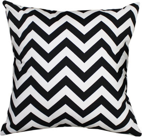 Pillows designer pillow accent pillow throw pillow Chevron Black and White 18 x 18 Inch
