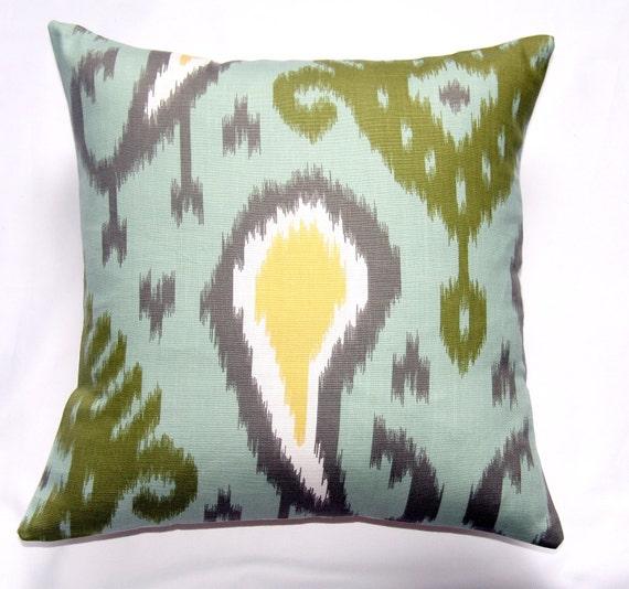 CLOSING SALE Pillow Designer pillow throw pillow toss pillow accent pillow home decor Dwell Studio Batavia Ikat-Aquamarine18x18 inch - Ikat