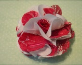 Subtle Valentine White Fabric and Pink Lace Flower Hair Accessory