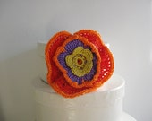 SALES- 50 % Crochet Flower Brooch. yellow, purple, orange, red.Handmade with a very thin cotton thread. ready to ship