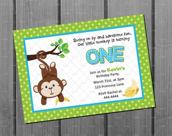 Monkey Birthday Invitation Card Monkey Birthday Party Invite Printable