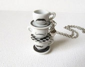 Mustache Stacked Teacup Necklace by Tiffleton