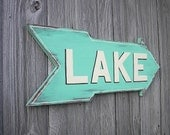 Wood Distressed Sign Lake Sign Decor Rustic Aqua Wall Decor Shabby Chic