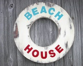 Beach House Sign Wood Lake House Decor Coastal Decor Red White Blue