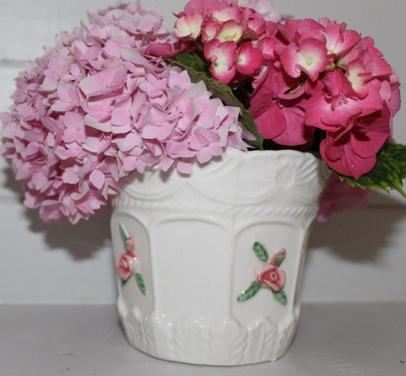 Sweet Vintage White Pottery Planter Vase with Delicate Roses