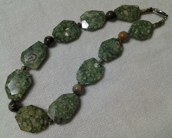 rainforest and petrified wood necklace