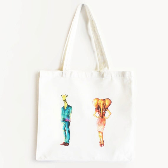 Custom Cotton Shopper Giraffe Boy & Elephant Girl 2.0