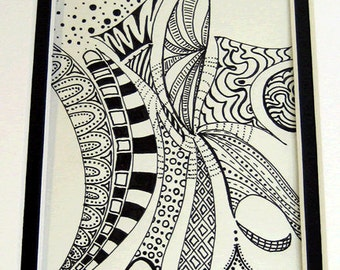 Original black ink pen drawing on paper.  Double matted.