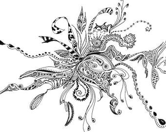 Black ink pen drawing - digital print of my original.  Printed on 100 lb. matte cardstock