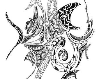 "Black ink drawing digital print. Printed on 100 lb. matte cardstock. Titled ""Ramble"""