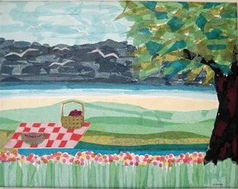 "Original Tissue Paper Collage on Canvas.  Titled ""Picnic at Steppingstone Park"""
