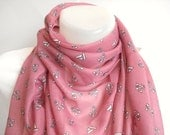 Dusty Rose  Anchor - Nautical Scarf, Cotton Scarf, Valentine gifts, Pink