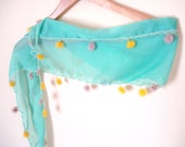 Nile Green Scarf, Cotton Scarf, Valentines day gifts, Green, yellow organza flowers, etsy coupon code