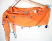 Orange Scarf with Embroidery, Unique Gifts, Orange, Blue, Yellow