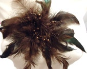Brown Feather Brooch, Brooch, For Her, For Woman