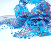 Blue Authentic Scarf with Evil eye beads