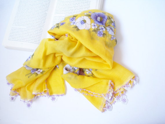 Yellow Turkish Yemeni  Scarf, Fashion, For Woman,  Square