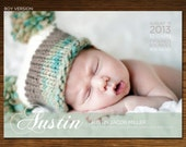 Modern Baby Girl or Boy Birth Announcement Photo Card, 5x7, Printable and Customizable