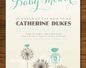 Flower and Birds Vintage Baby Shower Invitation, Customizable, Printable #65