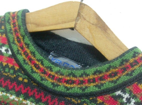 Vintage multicolored wool pullover sweater Kenzo