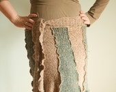 Great Green and Brown speckled Upcycled Sweater Skirt-Women's M- with tie waist