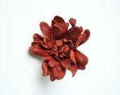 Leather dark terracotta flower ring