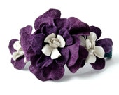 Purple leather floral hair clip