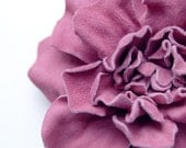 Pink leather floral hair clip