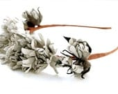 Leather dirty biege rustic floral headband