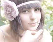 Bohemian pale lilac HANDMADE silk fabric flower elastic headband