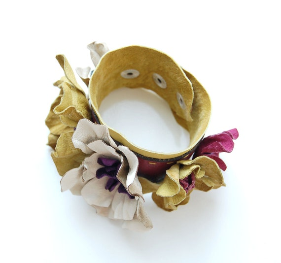 Olive leather floral cuff