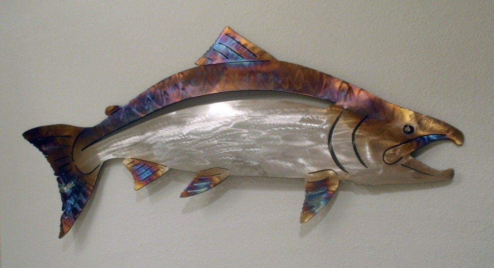 Salmon wall art stainless steel for Stainless steel wall art