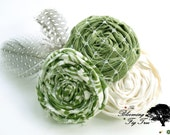 Fiona Cluster. Linen and calico fabric flowers with feathers. Newborn prop, headband, clip, brooch pin. St Patrick's Day.