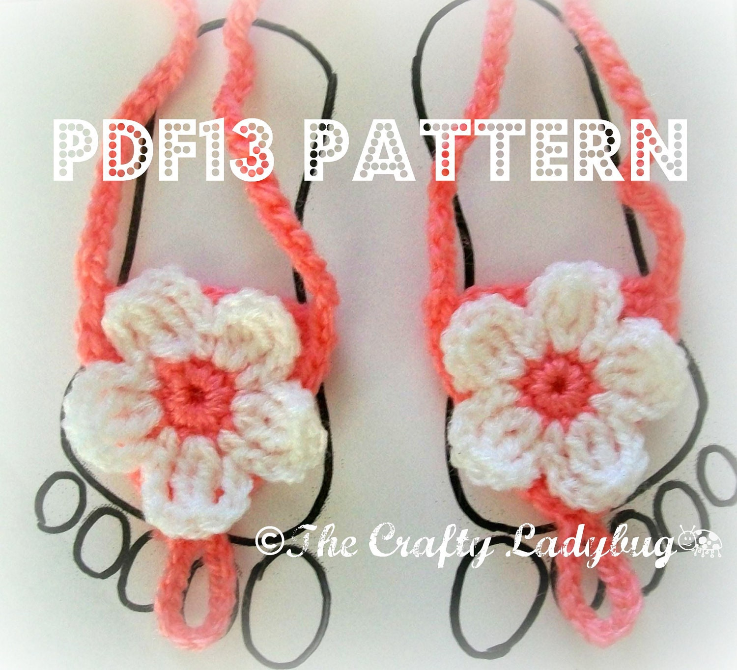 Crochet pattern baby barefoot sandals dancox for pdf13 flower barefoot baby sandals newborn to toddler sizes crochet pattern bankloansurffo Image collections
