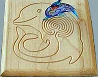 Dolphin Finger  Labyrinth with Glass Dolphin