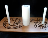 Wooden Unity Candle Stand with Engraved Verse