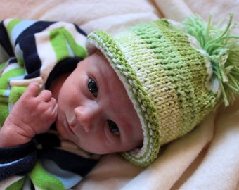 Baby Boy Green Knitted Hat with PomPom 0-3 Months