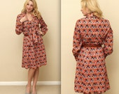 70's Marsha Brady Orange Square Pattern Dress