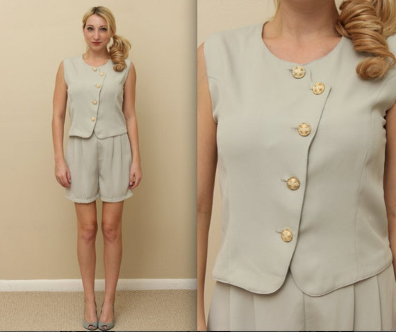 Vintage Grey-Green Blouse and Shorts Set (Small) with Gold Buttons