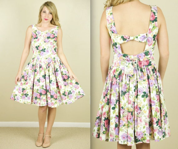 90's Floral Bow Backless Easter Dress