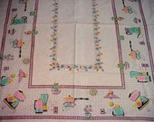 Rare Retro 1950's Pink and Aqua Kitchen Appliance Tablecloth 55 x 57