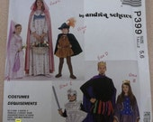 McCall's P399 4404 Medieval Costume Childs' King Queen Prince Princess Knight Maiden Robin Hood Size 5,6 or 2,4 M4404