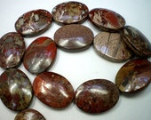 Red Flame Jasper Oval Beads 22x30mm 6 Beads Natural