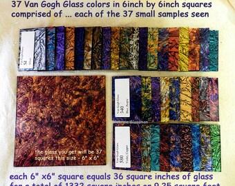 "37 Colors VAN GOGH Premium Glass 6"" x 6"" sheets Mosaic Glass Tiles"