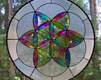 "Dichroic Stained Glass Panel disc ""Fruit of Life"" sacred geometry"