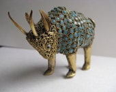 Vintage brass ASIAN BUFFALO with intricate workmanship glass beads
