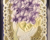 1912 postcard air brushed VIOLETS GOLDEN lace heavily embossed purple background